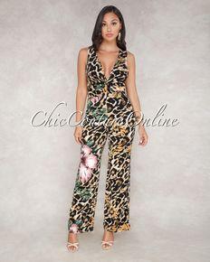 a250d1f5617 Yolandie Brown Leopard Floral Print Front Knot Jumpsuit