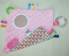 Baby sensory taggie blankie mirror rattle crinkle by twogreenpears