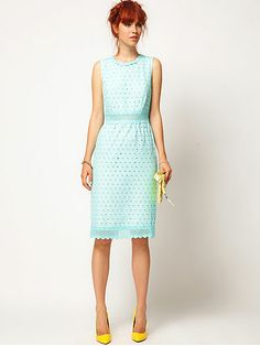 Just what I want for my girls. Aqua dress and yellow shoes :)