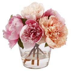 Faux peony arrangement in a clear glass vase.   Product: Faux floral arrangementConstruction Material: Polyester, plas...