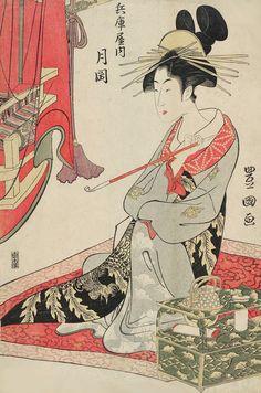 Tsukioka of the Hyôgoya. Ukiyo-e woodblock print, about 1810's, Japan, by artist Utagawa Toyokuni I.