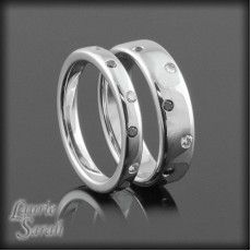 14kt White Gold His and Hers Wedding Bands with Bezel Set Black and White Diamonds - LS2246