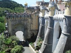Sintra - Day trip from Lisbon (beach town) gorgeous; the Castle of the Moors, Pena Palace, and the Capuchin Monastery