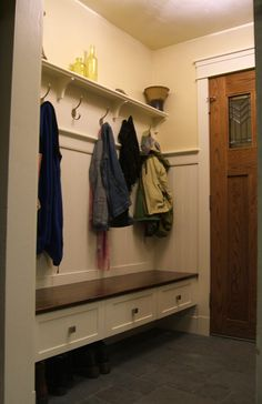Good alternative to lockers. I love how the bench is raised to provide a place for shoes underneath. and because the shoes are on the floor, its easy clean. Beautiful and functional. Small Mudroom Ideas, Garage Laundry Rooms, Front Closet, Home Fix, Hallway Designs, Home Reno, Home Organization, New Homes, House Design