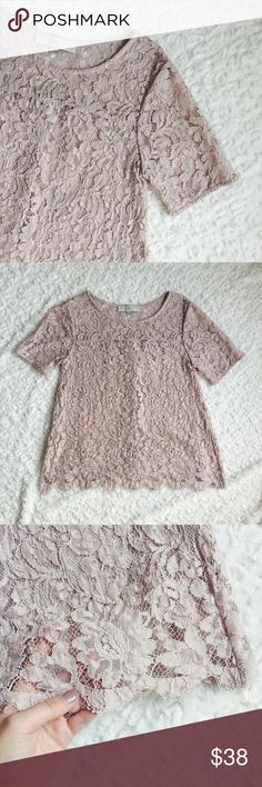 """{Ann Taylor Loft} Lace Tee You'll love the lacy personality of this scalloped lovely. Top is sheer. Add a cami beneath for more coverage. Scalloped hem witheyelash fringe trim. Worn once    c o n t e n t + 50% rayon 