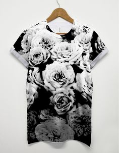 Monochrome-Flower-All-Over-T-Shirt-Black-And-White-Top-Summer-Beach-Holiday-221446895553.jpg (1243×1600)