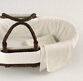 Moses Basket with european vintage-washed diamond matelasse bedding