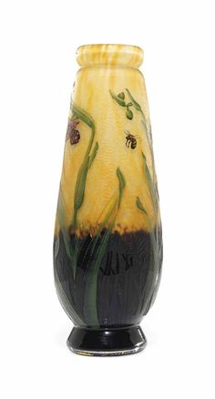 A DAUM CASED AND ENAMELLED GLASS 'COBWEB' VASE -  CIRCA 1895
