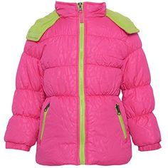 Pink Platinum Big Girls  Tonal Animal Print Puffer Jacket, Pink, 10/12