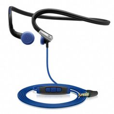 Adidas Sennheiser PMX Sports In-Ear Neckband Headphones - Black/Blue, mm, angled. Designed in conjunction with Adidas, these headphones have been tested extensively in the field for ergonomic fit, durability and reliability. Sennheiser Headphones, Neckband Headphones, Cheap Headphones, Wireless Noise Cancelling Headphones, Sports Headphones, Best Headphones, Best Workout Headphones, Jogging, Adidas