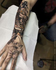 70 Brilliant Hand Tattoos for Men and Women - Tatoo - Egyptian Tattoo Sleeve, Arm Sleeve Tattoos, Forearm Tattoo Men, Tattoo Sleeve Designs, Tattoo Designs Men, Leg Tattoos, Body Art Tattoos, Designs Mehndi, Henna Tattoos