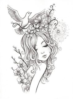 Printable Adult Coloring Page 'Cherry Blossom Girl'