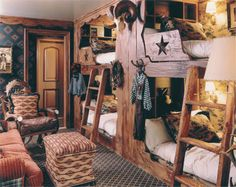 Cowboy Theme- very cool idea for bunk beds. Links to a site with page after page of cowboy room inspiration. Cowboy Theme, Western Theme, Western Decor, Western Crafts, Western Cowboy, Western Style, Rustic Decor, Bedroom Themes, Kids Bedroom