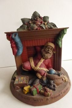 Vintage Cairn Studio Tom Clark Gnome Santa Down With A Bound Retired 1998 by Cassablancas on Etsy Tom Clark, Hand Cast, Gnomes, Fairies, Studios, Favorite Things, Christmas Decorations, Santa