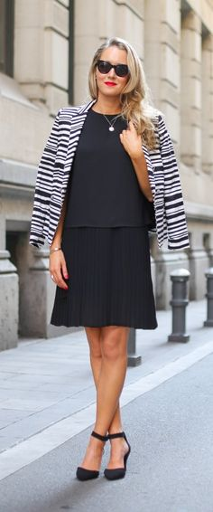 black and white striped blazer, pleated drop waist dress + ankle strap pumps
