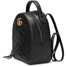 Gucci Black Leather GG Marmont backpack (101,710 INR) ❤ liked on Polyvore featuring bags, backpacks, genuine leather backpack, leather bags, gucci backpack, gucci rucksack and backpack bags