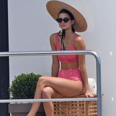 On Jenner: Jacquemus hat; Lisa Marie Fernandez Two-Piece Colby Ruffle Button Bikini (£390); Le Specs The Last Lolita Cat-Eye Sunglasses (£75). We never knew how badly we need a...