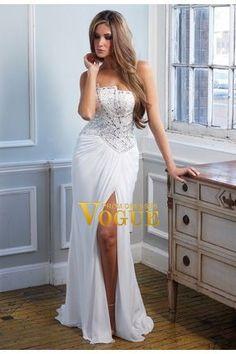 2013 Prom Dresses Split Front Floor Length White Strapless Chiffon Beading & Sequince USD 184.41 P6BTSJJT - VoguePromDresses