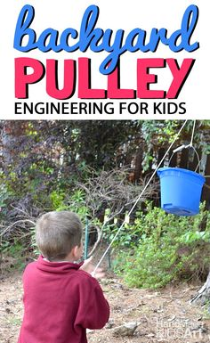 Backyard Pulley an Engineering Challenge for Kids. Easy STEM activity for kids.