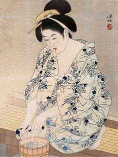Art by Ito Shinsui A Woman after the bath. Japan Illustration, Art Occidental, Art Asiatique, Art Japonais, Kamakura, Art Moderne, Japanese Painting, Japanese Prints, Japan Art
