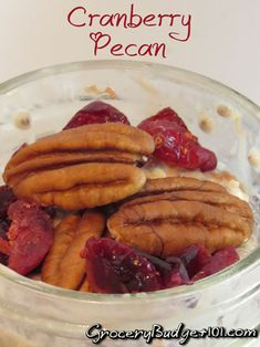 MYO: Cranberry Pecan Refrigerator Oatmeal- This one is a delicious way to use up that last little bit of leftover cranberry sauce. Slightly tart with crunchy pecans, (Click on photo for recipe)