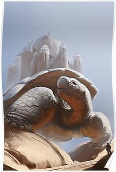 """""""Turtle Temple"""" art by Jose Ochoa features a fantasy painting of a large tortoise with a temple building on its back. Fantasy Life, Fantasy World, Fantasy Art, Fantasy Creatures, Mythical Creatures, Science Fiction, Fantasy Monster, Arte Horror, Fantasy Inspiration"""