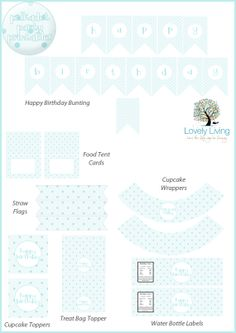 Free Blue Polkadot Party Printables