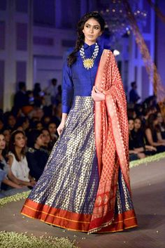 New trend alert: Shirt with banarasi skirt and dupatta. Love this blue red outfit. #Frugal2Fab