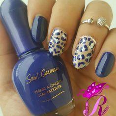 """هذه #أظافر اليوم  Nude and Navy Leopard Nails inspired by @nailsbyjema using Saint Germain-Gel Effect Full Colour #161 in """"Evidence"""""""