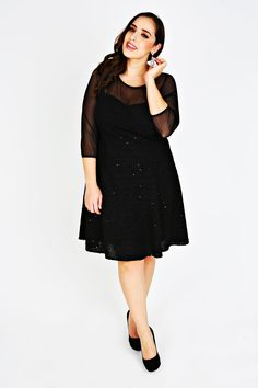 c31a7905d85a6 SCARLETT  amp  JO Black Sequin Fit And Flare Dress With Mesh Yoke Plus Size  Party