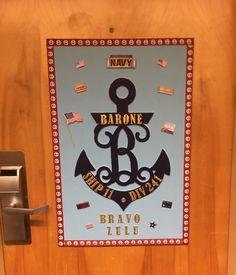 Pir door banner navy graduation navy mom navy sailor for Hotel door decor