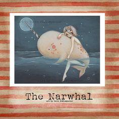 Narwhal art Print  fairy goth gothic unicorn sea by WhiteStag, $7.00