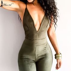 Super sexy jumpsuit for street style chic in Khaki green. This jumpsuit has spagetti straps and a criss-cross backless design Bodycon Jumpsuit, Fitted Jumpsuit, Backless Jumpsuit, Casual Jumpsuit, Elegant Jumpsuit, Black Jumpsuit, Jumpsuit Dress, Fashion Clothes, Moda Femenina