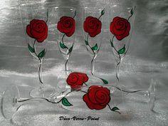 """6 flûtes à champagne """" Rose rouge"""" peintes à la main. Peinture sur verre,résistante au lave-vaisselle. Créations artisanales : délai de réalisation 4-5 jours. Si vous - 18067062"""