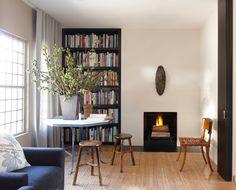 dining table, stools, rush matting carpet