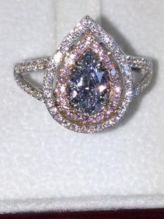 Fancy light blue gray teardrop-shaped diamond!