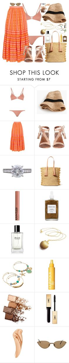 """""""Our turn now ! #cherryboat"""" by carolsposito ❤ liked on Polyvore featuring Melissa Odabash, J.Crew, Tory Burch, Zimmermann, Cartier, Loeffler Randall, NYX, French Girl, Bobbi Brown Cosmetics and Clinique"""