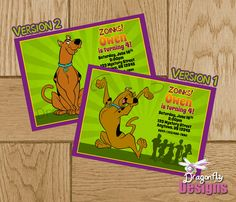 Scooby Doo Birthday Invite/ Invitation-Custom Printable-Digital File. $10.00, via Etsy.