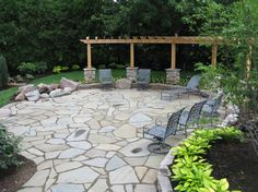 25 great stone patio ideas for your home | flagstone patio, stone ... - Different Patio Ideas