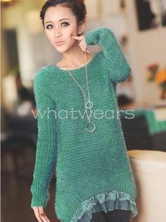 Sweet-Women-Lace-Hem-Long-Sleeve-Loose-Pullover-Sweater-Tops-W7207-FUS