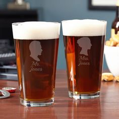 Keep the romantic spirit of your wedding day alive everyday with our Mr. and Mrs. set of pint glasses
