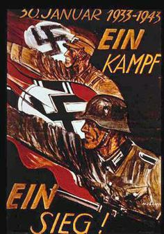 World War II: German poster marking 10th anniversary of Nazi siezure of power in 1933. German soldiers with swastika flags, arms raised in Nazi salute advance to 'One Battle One Victory!'. Withdrawn after defeat at Stalingrad, January 31st. akg-images