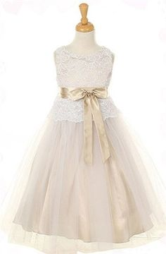 sz 2 Brand New Champagne Lace Flower Girl Dress by Urkidsboutique, $39.99