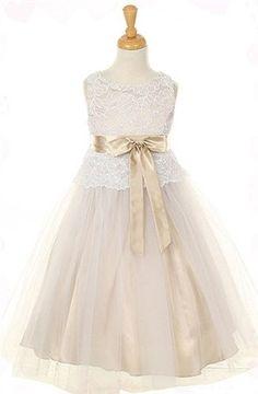 Brand New Champagne Lace Flower Girl Dress sz 2. $39.99, via Etsy.????