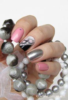 25 Inspirational Nail Art Design Ideas - World inside pictures Beautiful Nail Designs, Cute Nail Designs, Beautiful Nail Art, Hot Nails, Pink Nails, Hair And Nails, Silver Nails, Great Nails, Fabulous Nails