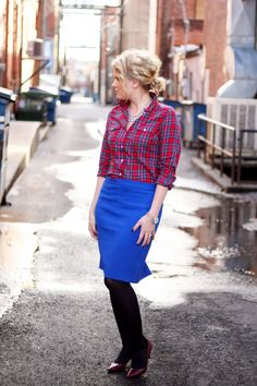 Plaid with bright skirt and tights. (With an A-line skirt for me)