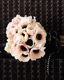 Black, white, soft pink wedding bouquet. Simply beautiful--who says you only have to use light colors for a wedding? Black is beautiful.