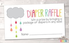 Colorful Shower Cloud Printable Diaper Raffle Ticket – Instant Download Printable PDF