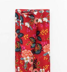 Birch Floral (Crimson) Screen Printed Rayon Fabric