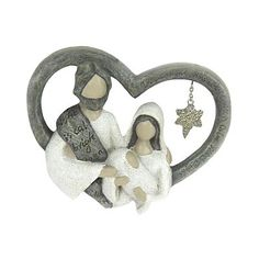Nicholas Square Faceless Joseph and Mary Holding Baby with Glittery Dangling Star in Heart Ornament Nativity Ornaments, Christmas Nativity, Christmas Holidays, Christmas Tree, Christmas Ornaments, Carving Board, Holiday Decor, Holiday Ideas, Christmas Ideas